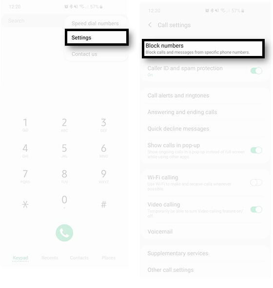 block incoming calls on Samsung S10 S10 Plus S10e