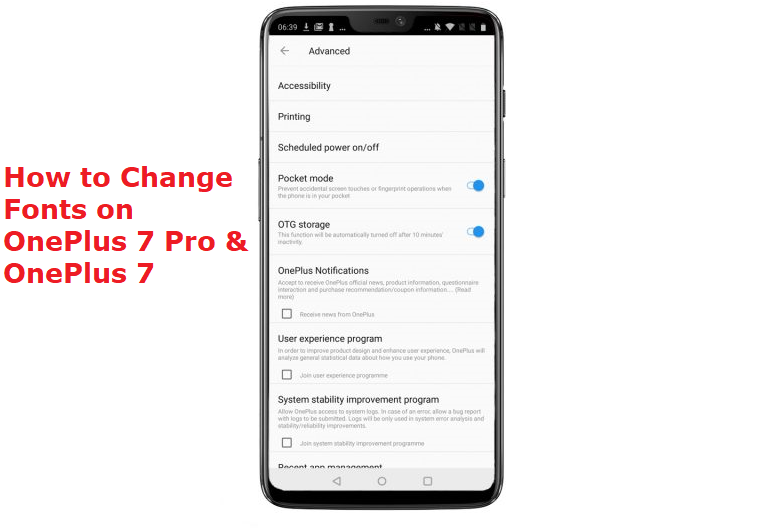 how to change fonts on OnePlus 7 Pro