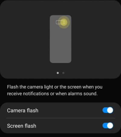Enable Flash Notifications on S20, S20Plus
