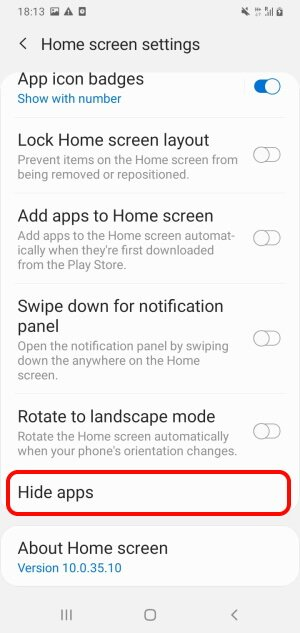 Tap Hide Apps on Samsung