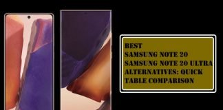 Best Samsung Note 20 and Note 20 Ultra Alternatives Table Comparison